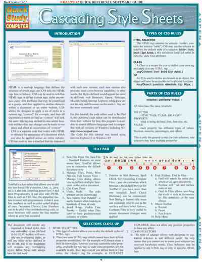 Cascading Style Sheets Quick Reference Guide By Barcharts, Inc. (COR)